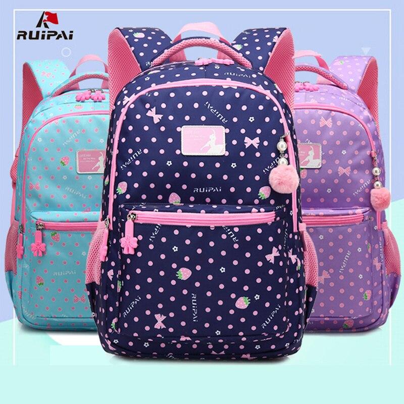Ruipai Детский рюкзак сладкий розовый принт для девочек Школьный рюкзак Новый многоцветный Водонепроницаемый Рюкзак Школьников Сумки
