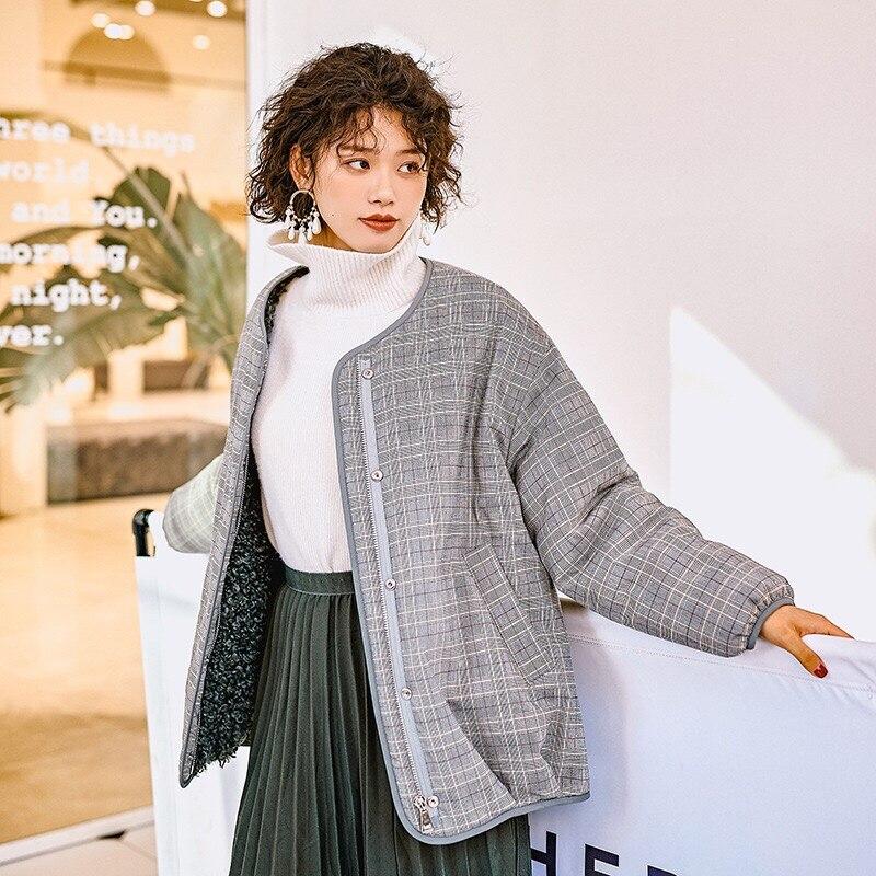 Veste Oversize Épais Plaid Survêtement Hiver Originale Automne Face Gloria Et Gris 2018 Impression Manteau Double Grâce Chaud Conception Porter jqzpUMSGLV