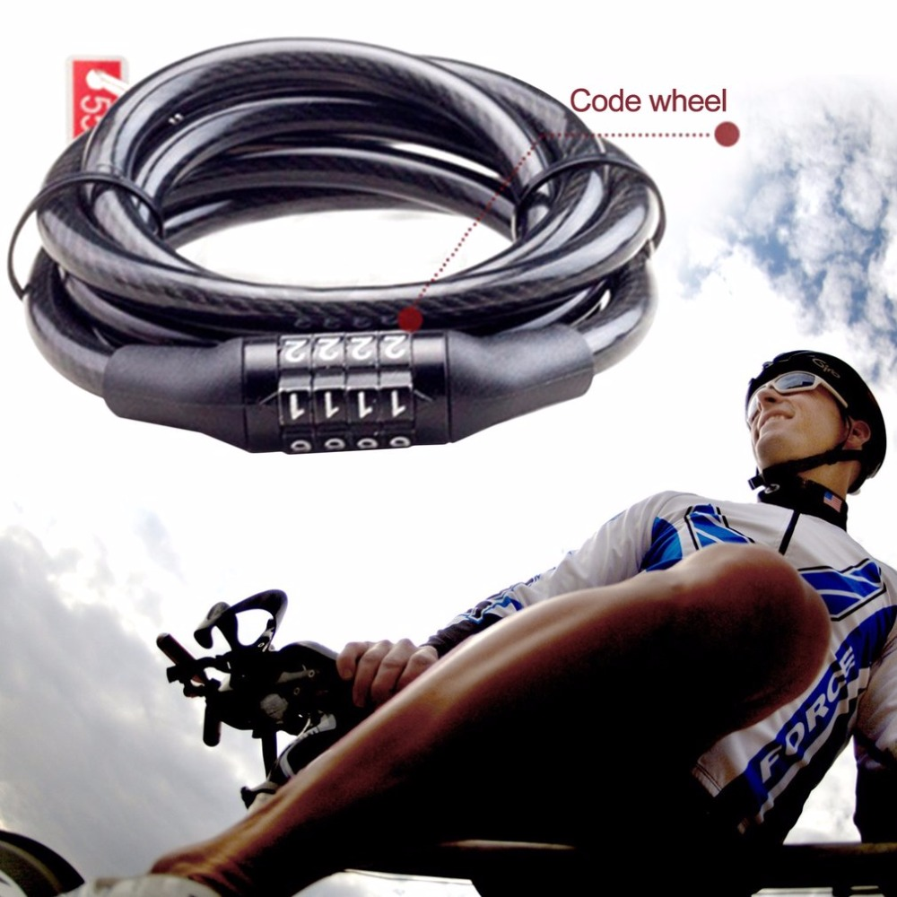 4-Digital Bicycle Bike Anti-Theft Security Chian Lock Code Cable Lock Cycling#c