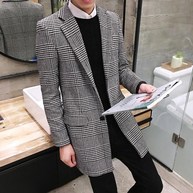 In the men's long wool coat young men winter suit collar size woolen coat coat to cultivate the tide