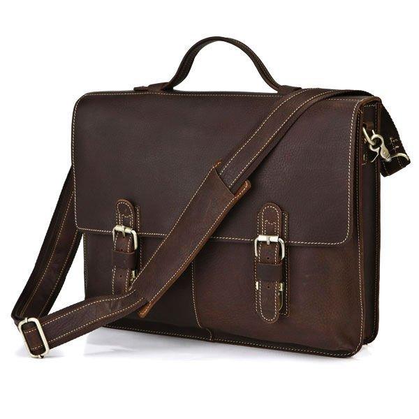 Wholesale 5 PCS/Lot Unique Vintage Crazy Horse Leather Men's Briefcase Messenger Laptop Bag #7090R