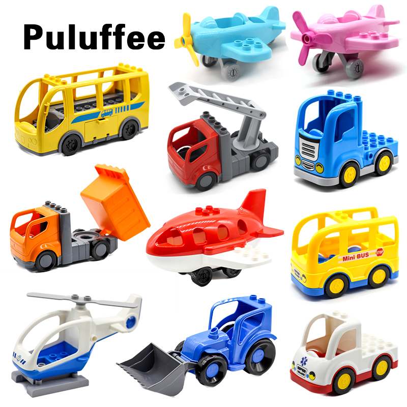 Engineering Auto Fahrzeug Set flugzeug hubschrauber Große Partikel Bausteine zubehör DIY Geschenk Spielzeug Kompatibel mit Duplo Steine