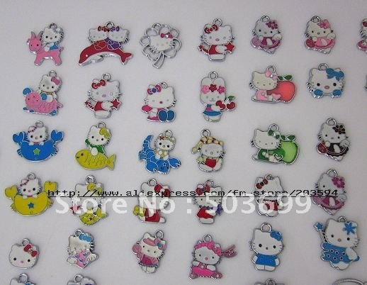 Free Shipping 100pcs zinc alloy metal Hello kitty enamel pet charms