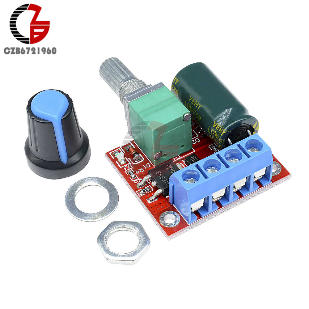 MINI 5A 90W PWM 12V DC MOTOR SPEED CONTROLLER โมดูล DC-DC 4.5V-35V ปรับความเร็ว regulator Control Switch 24V