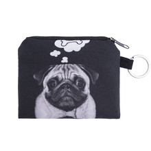 dog bone Coin Purses Cute Girl Mini Bag Key Ring Case Zipper Wallet Lovely black dog 3d print Pouch Change Purse wholesaleCP4091