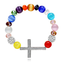Hot Sale Love Charm Colorful Glaze Beads Cross Elastic Bracelets for Women Trendy Beaded Gifts 2019