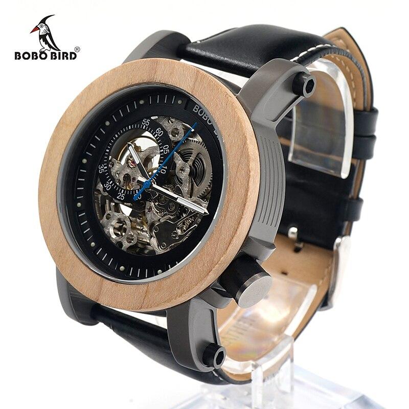جديد العلامة التجارية بوبو الطيور الرجال الساعات الميكانيكية ساعة جلد أصلي الفرقة الخشب ساعة اليد relogios masculinos B K14-في الساعات الميكانيكية من ساعات اليد على  مجموعة 1