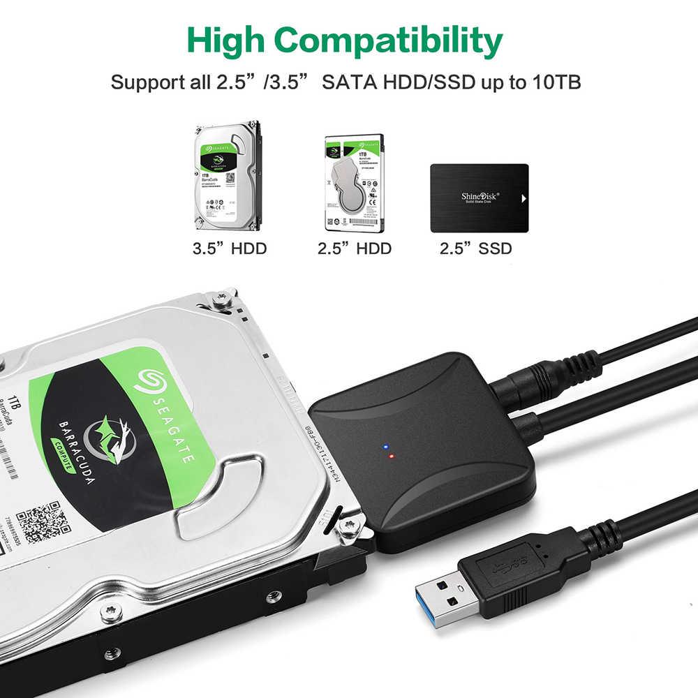 40CM adaptador USB 3,0 a Sata Cable convertidor USB3.0 Cable convertidor de Cable para Samsung Seagate WD 2,5 3,5 HDD SSD adaptador