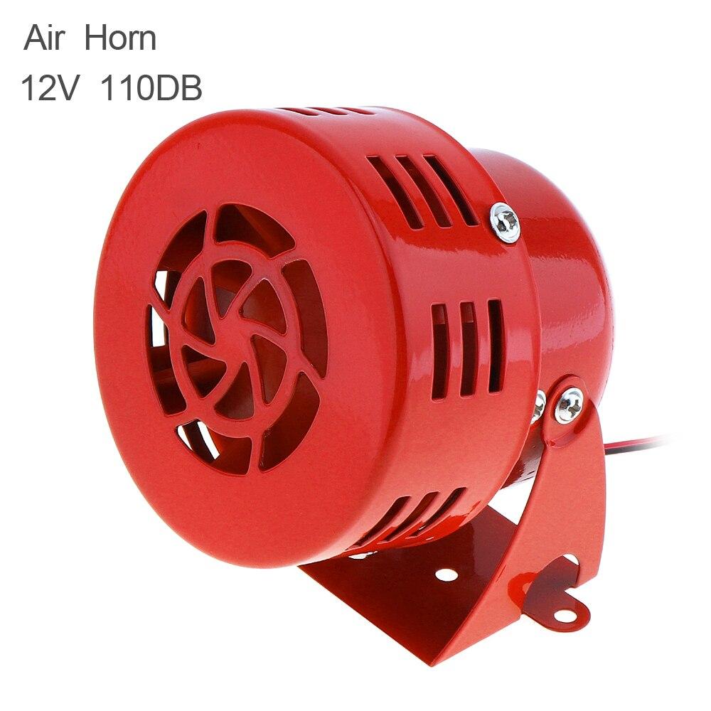 Universal 12V 110dB Red Automotive Motorcycle Horns Air Raid Siren Horn Car Truck Motor Driven Alarm