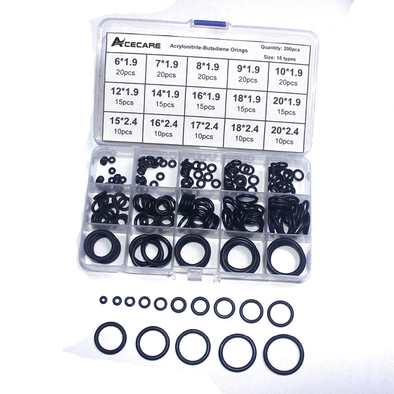 200PCS/1 BOX PCP Paintball NBRAcecare Rubber Gasket Replacements Sealing O-rings Durable Socket Black 15 Sizes Available O-rings