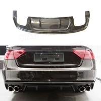 For A5 Carbon Fiber Rear Bumper Lip Diffuser Spoiler for Audi A5 Sline S5 2013 2016 Fins Shark Style Diffuser