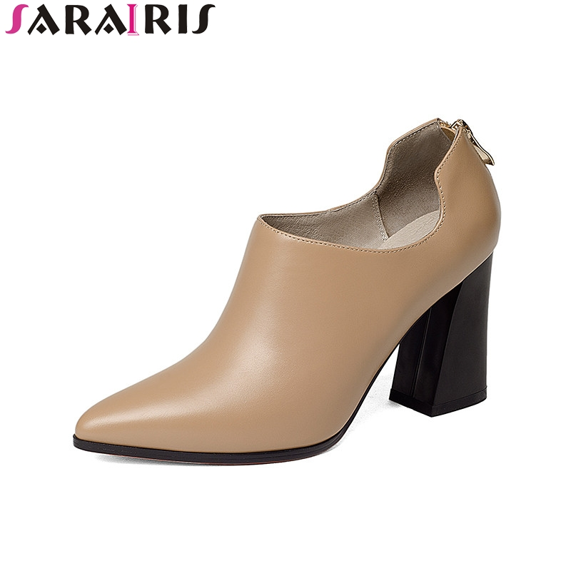 SARAIRIS 2018 Spring Autumn Fashion Elegant Cow Leather Women Deep Pumps Zip High Hoof Heels Ol Shoes Woman Black Lady Work siketu 2017 free shipping spring and autumn women shoes fashion sex high heels shoes red wedding shoes pumps g107