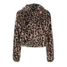 Warm Winter Faux Fur Coat And Jackets Women Leopard Print Zipper Up Turn Down Co