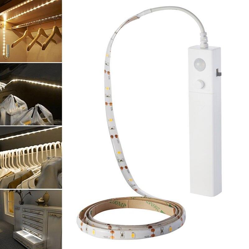 LED Double Mode Flexible Nuit Lumière Bande Motion Sensor Lampe pour Chambre Cabinet Placard CLH @ 8