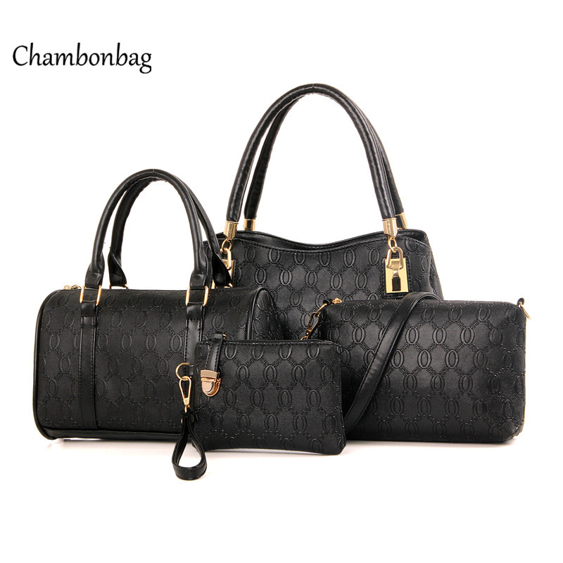 ФОТО Set Leather Handbag Female 4 piece Handbag Set Women Leather Wallet Purse Wrist Small Shoulder Bag Set sac a main femme N91