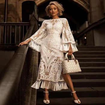 Summer Beach Dress 2019 Sexy Cover Up Dresses Swim Wear Heavy Industries Lace Tasseled Bell Long Sleeve White Lace Solid - DISCOUNT ITEM  20% OFF Sports & Entertainment
