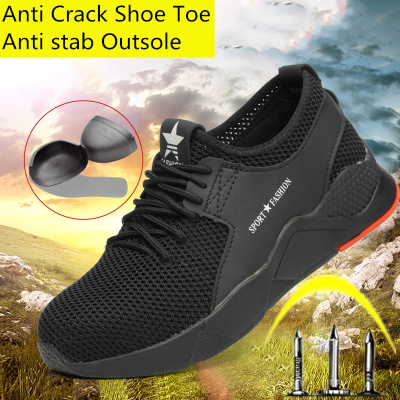 Men Safety Shoes Anti-smashing Safety Steel Toe Cap Shoes Outdoor Anti-slip Steel Puncture Proof Construction Breathable sneakes