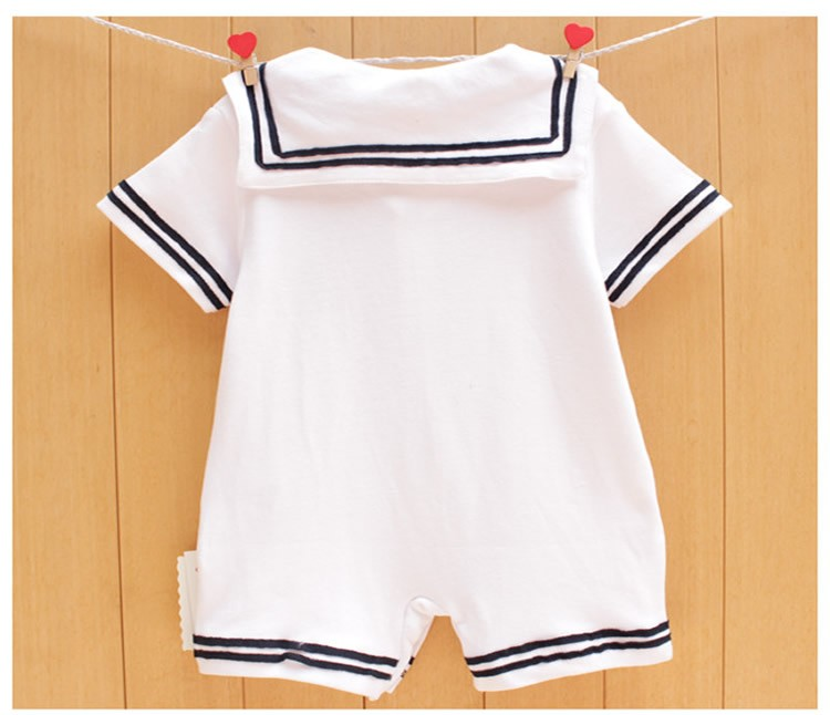 17 Newborn baby clothes White Navy Sailor uniforms summer baby rompers Short sleeve one-pieces jumpsuit baby boy girl clothing 3