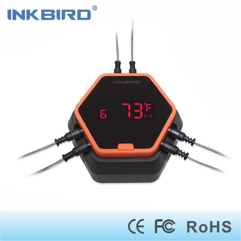 Inkbird IBT-6X cuisson des aliments Numérique Bluetooth Sans Fil Thermomètre BARBECUE pour four viande avec APPLICATION gratuite contrôle et 6 sondes