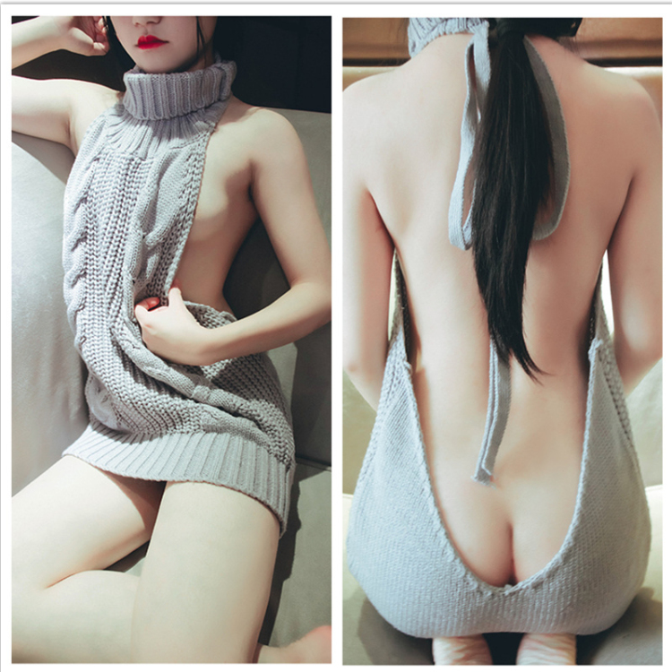 2017-Hot-Virgin-Killer-Japanese-Sexy-Backless-Long-Sweater-Turtleneck-Sleeveless-Sweaters-White-Black-Gray-Light (1)_