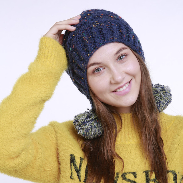 ddc473685de HU GH Winter hat Beanie winter women hat for fur Pom Pom Hats casual style  new style balls cute hats Christmas gift