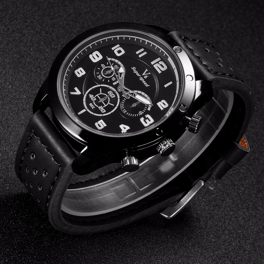 V6 Luxury Watch Men Watch Fashion Leather Military Sport Watch Male relogio masculino reloj hombre montre homme Wrist watches 2017 fashion men watches top brand luxury function date leather sport watch male business quartz wrist watch reloj hombre