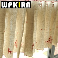 Tiyana Short Lace Curtain Merry Christmas Dear Kitchen Curtain Rod Pocket Cloth Curtain Red Golden 30