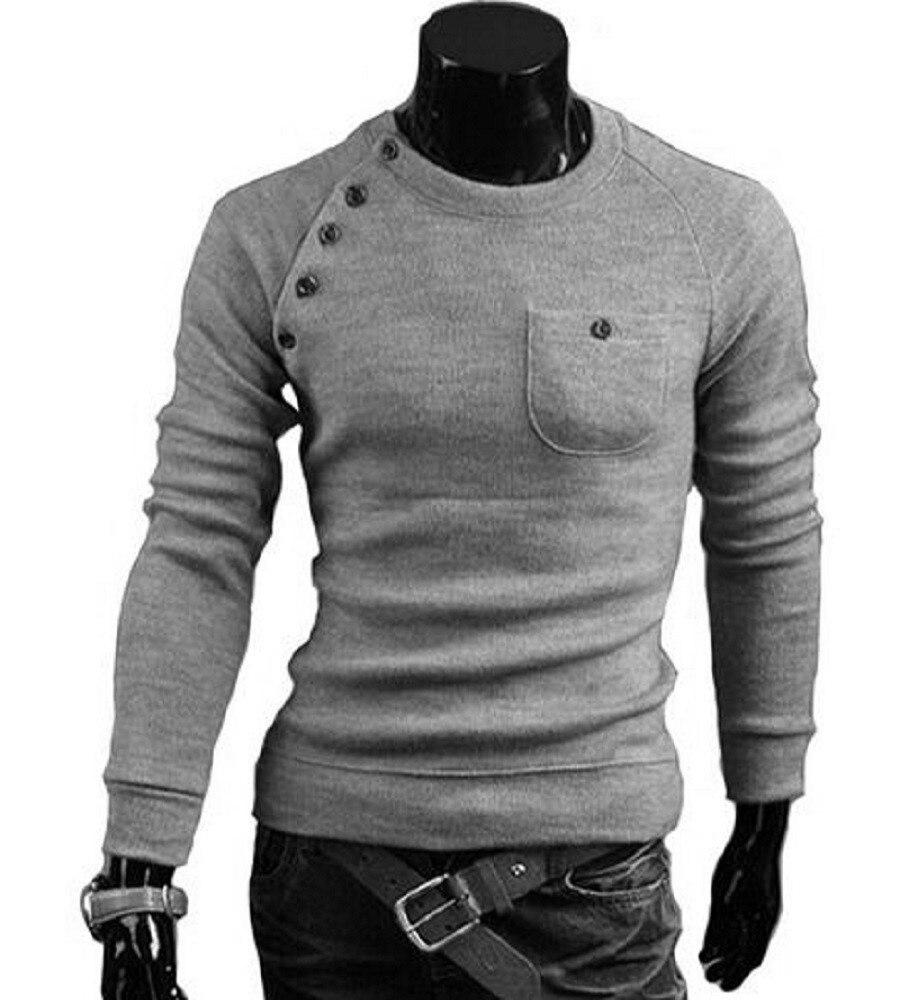 MUAONE 2018 nuevos suéteres de los hombres de la marca de moda o-cuello de Color  sólido bolsillo único diseño manga larga Pullover 7712 4d9e32394cb0