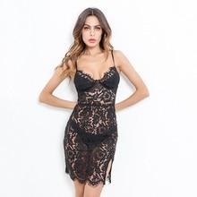 NiceMix New Arrival Lace Dress Summer Sexy Strap Dresses Women Deep V High Waist Black Color Robe Femme Ete 2019 Summ