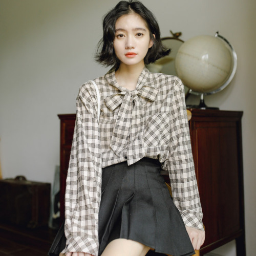 Women's Clothing 2019 Spring New Full Sleeves Tops For Women Butterfly Knot And Kache Chequered Blusa Manga Comprida Student Loose Top Brief