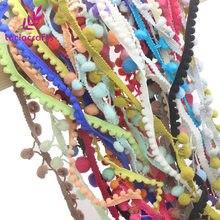 Ruban à franges en Pom de différentes couleurs, 10-15mm, accessoires de couture, bricolage, dentelle, 12yards/lot(1yard/pc), K0204, soldes