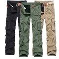2016 hombres sólido mediados de cintura muti-bolsillos espesan los pantalones para hombre ropa pantalones pantalones pantalones de algodón sueltos Button Zipper Casual Cargo Regualr
