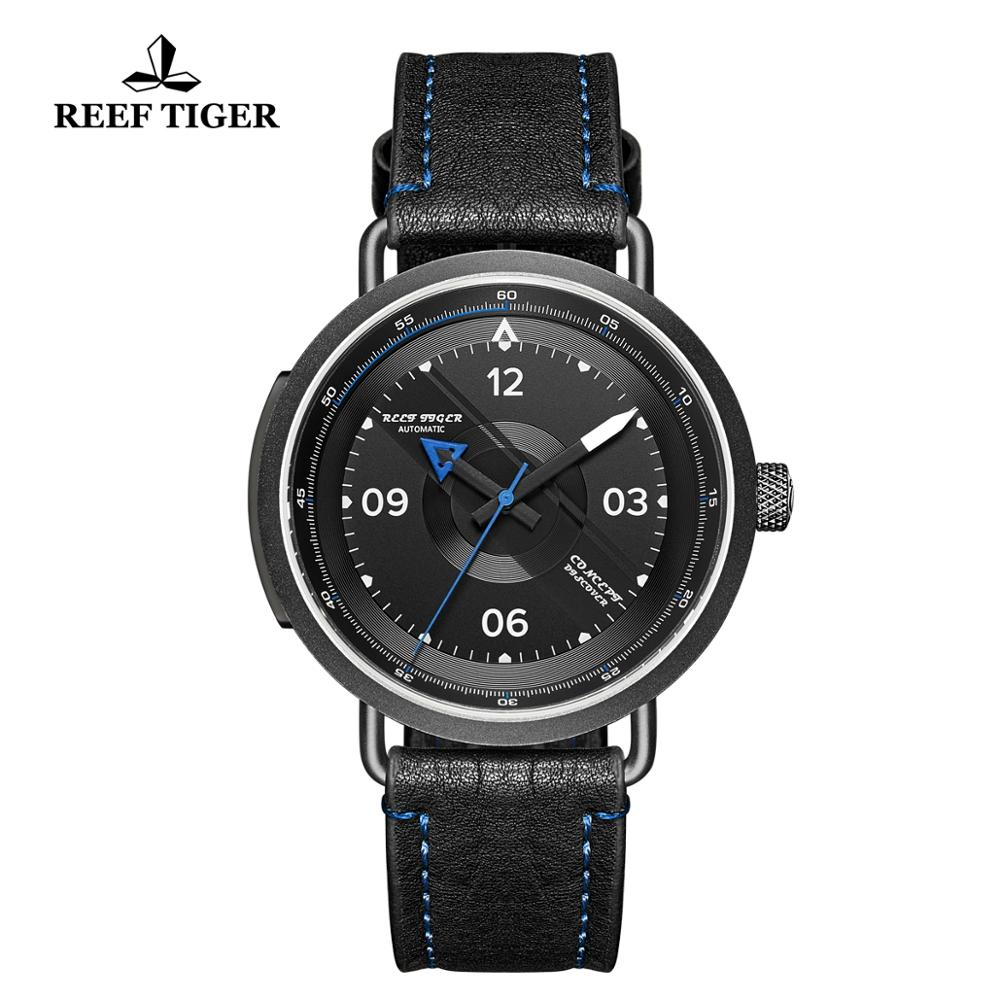 2019 Reef Tiger RT New Design Simple Watch Men Leather Strap PVD Waterproof Military Watches Automatic