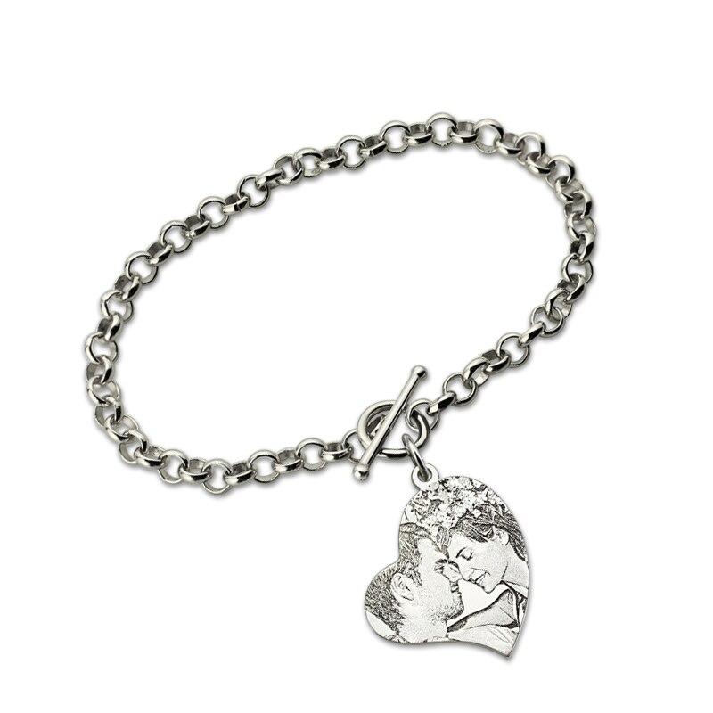 AILIN personnalisé coeur Photo gravé Bracelet en argent Sterling mémorial bijoux cadeau pour les amoureux
