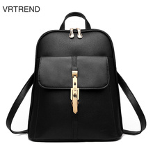 Vrtrend Повседневное из искусственной кожи высокого качества Для женщин рюкзак сплошной школьная сумка женская Рюкзаки Для женщин элегантный дизайн Модные рюкзаки
