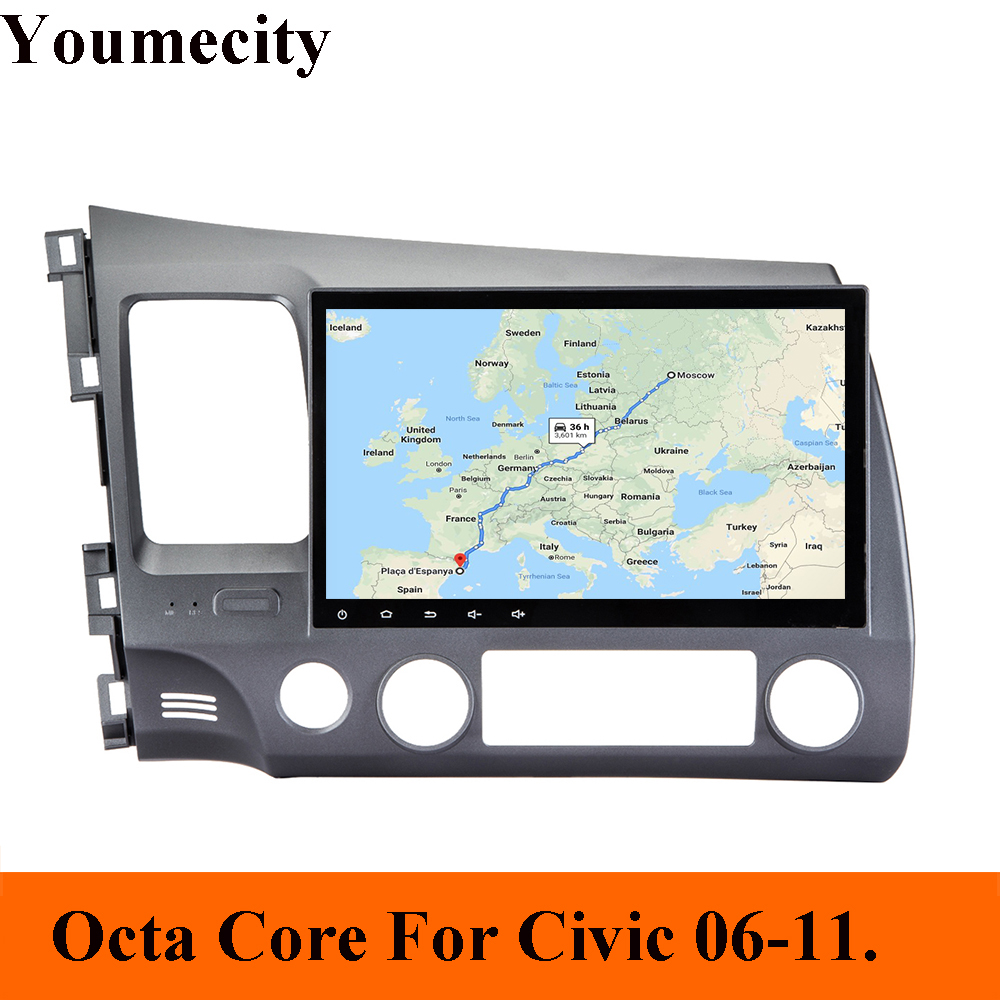 Youmecity Android 8 1 2 DIN 10 1 Octa Core Car dvd Video GPS For Honda