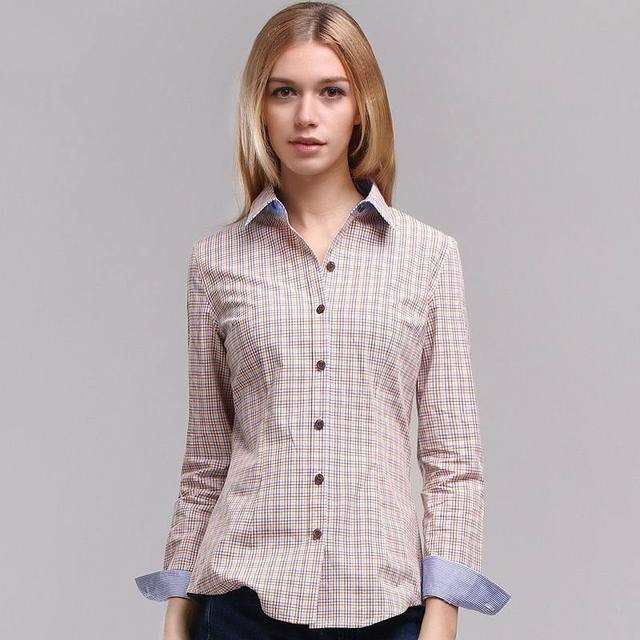 Veri Gude Women's Plaid Blouse for Work Long Sleeve Shirt Slim Fit Pure Cotton Free Shipping