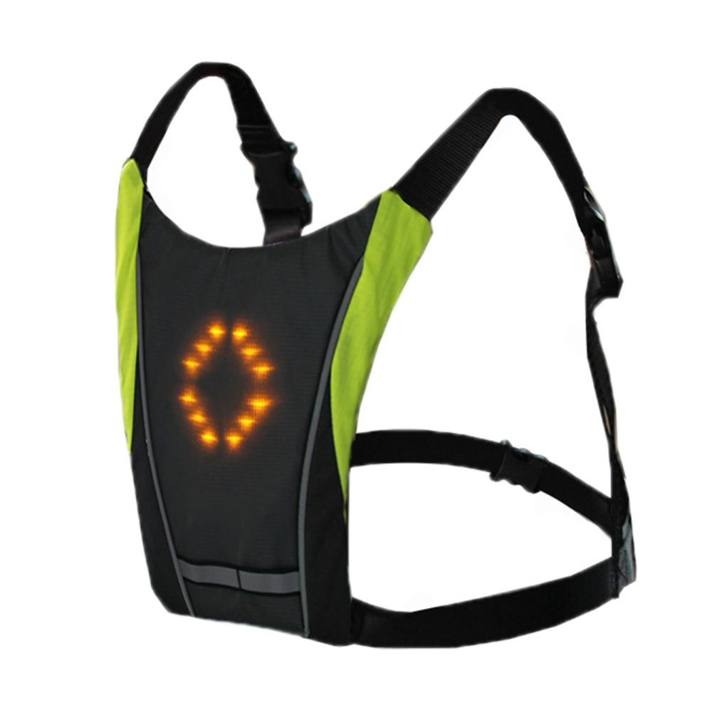 Practical Bicycle Backbag Led Wireless Cycling Vest Safety Bag Led Turn Signal Light Bike Bag Vest Bicycle Reflective Warning Vests Cycling