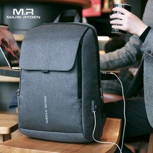 Image 1 - Mark Ryden adam sırt çantası USB şarj 15.6 inç dizüstü okul çantası erkek için erkek seyahat Mochila su geçirmez