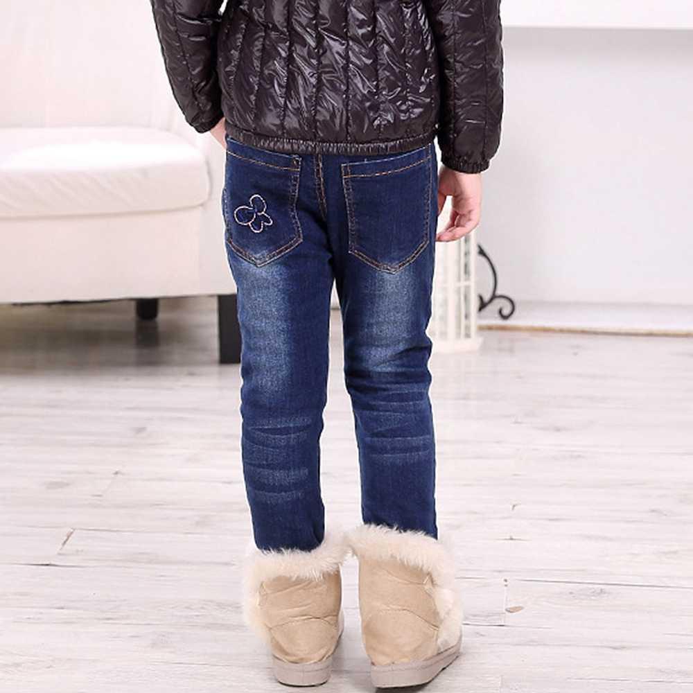 3-10T kış kız pantolon çocuk giyim kız pantolon kot tayt çocuklar denim pantolon polar sıcak kıyafetler çocuk giyim