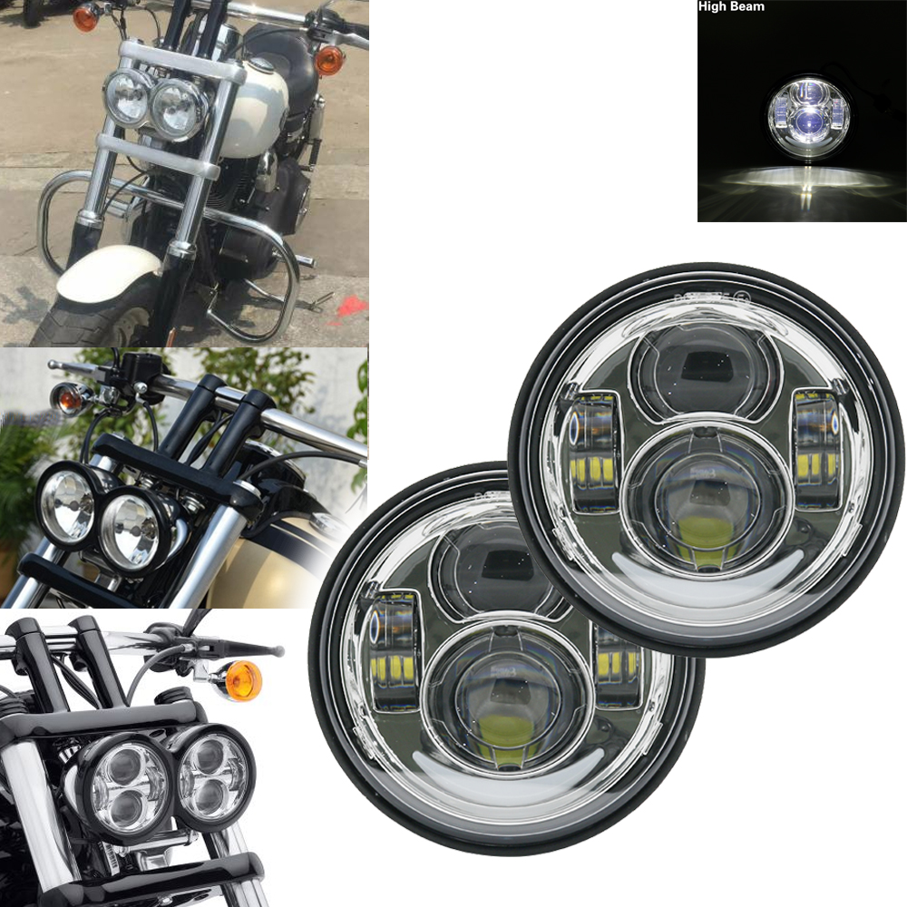 2 Pcs Motorcycle 4.65 Inch Daymaker Round Headlamps For Harley Dyna FXDF Model Driving Lamps 5
