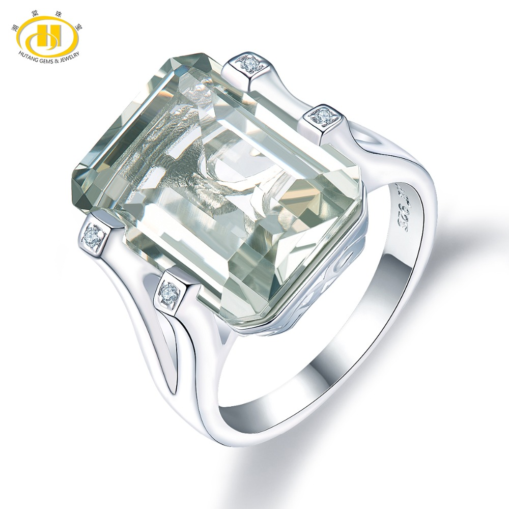 Hutang 11ct Green Amethyst Engagement Rings Natural Gemstone 925 Sterling Silver Ring Fine Fashion Stone Jewelry