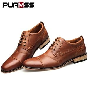 Image 3 - Brand Men Shoes Top Quality Oxfords British Style Men Genuine Leather Dress Shoes Business Formal Shoes Men Flats Plus Size 50