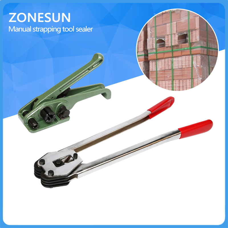 ZONESUN Manual Plastic strapping tool manual strapping tool sealer and tensioner for 12mm 16mm strap [randomtext category=