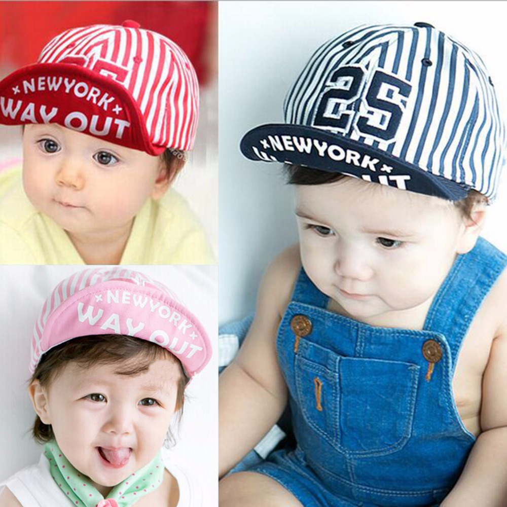 Puseky 2018 1 pezzo carino estate neonato cappello ragazze BoyS digitale 25 a righe berretto da baseball neonato cotone unisex per bambini sole