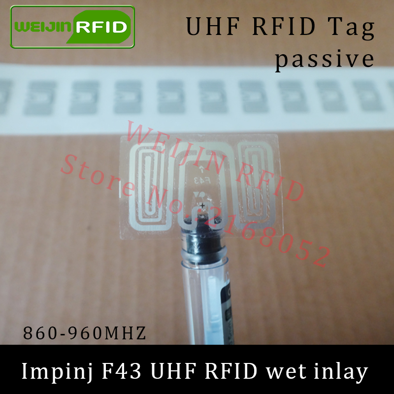 UHF RFID tag sticker Impinj F43 wet inlay 915mhz 900 868mhz 860-960MHZ  EPCC1G2 6C smart adhesive passive RFID tags label 860 960mhz long range passive rfid uhf rfid tag for logistic management