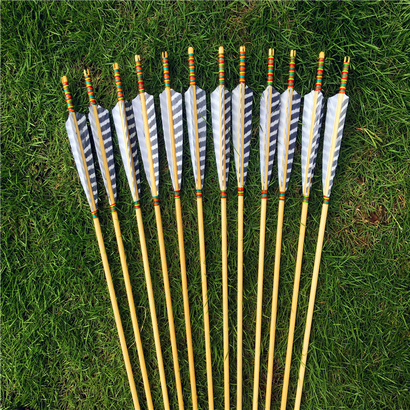 12pcs traditional handmade gray turkey feathers wooden arrows for longbow hunting