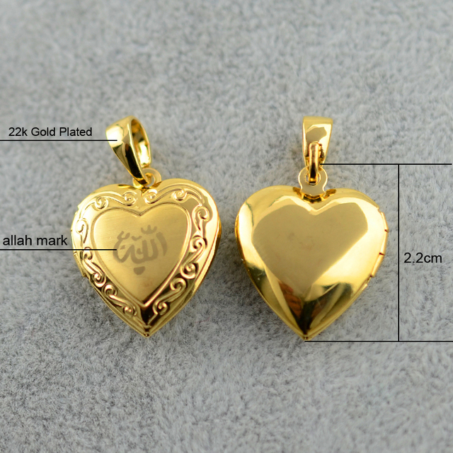 Heart Allah Necklace Pendant for Women Muslim  Necklaces Jewelry ,- Gold Plated Islam Chain Necklaces Prophet Muhammad