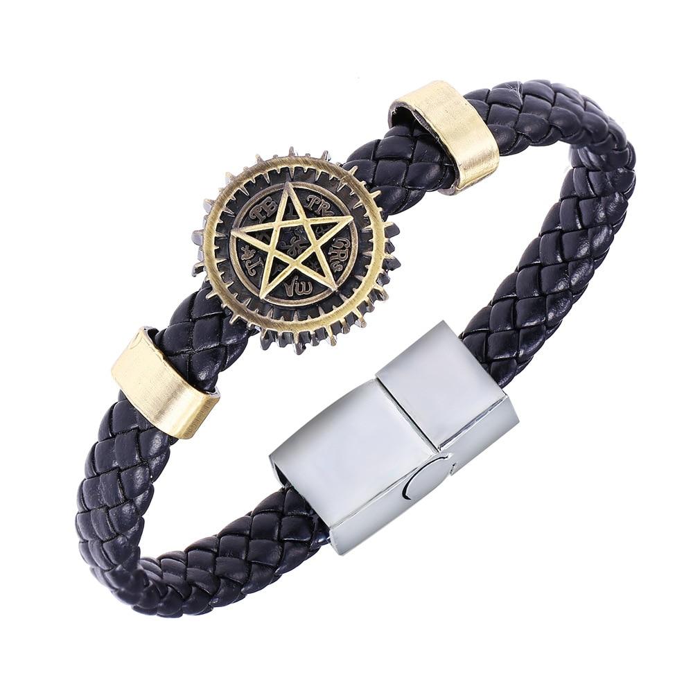 24 Pcs Lot Black Butler Round Magic Circle Couple Hand Bracelet Customize Leather Bronze ID Personalized