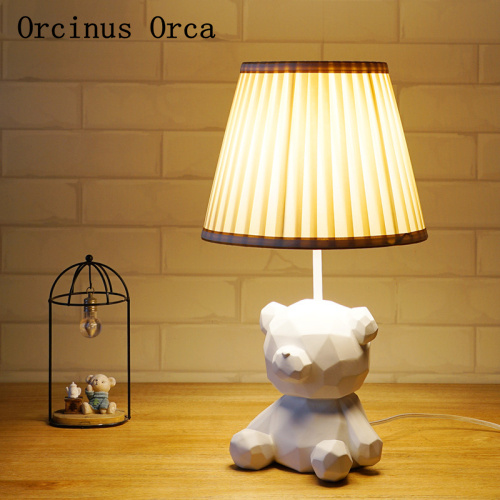 Nordic Modern Simple Geometry Bear Table Lamp Boys and Girls Bedroom Children's Room Lamp Cartoon Creative LED Animal Table Lamp|LED Table Lamps| |  - title=